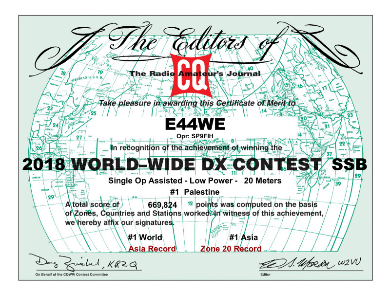 E44WE award CQ WW SSB Contest